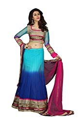 Blue Net And Georgette Lehenga Choli