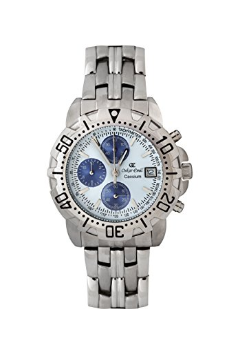 Oskar-Emil Classic Chrongraph Caesium 1119G SS Men's Quartz Watch with Blue Dial Analogue Display and Silver Stainless Steel Bracelet