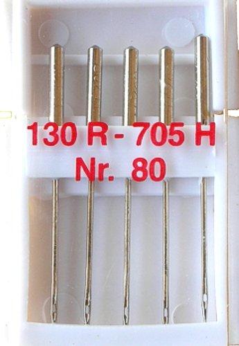 5 Nähmaschinennadeln Universal Nr.80 Flachkolben 130R/705H für Nähmaschine, 0099