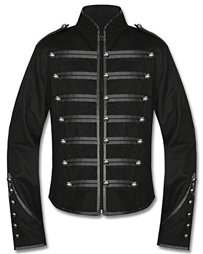 Mens-Unique-Gothic-Steampunk-Black-Parade-Military-Marching-Band-Drummer-Jacket-Goth-Punk-Emo