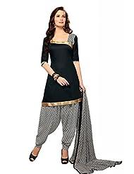 Black Cotton Floral Print Salwar Kameez Dress Material