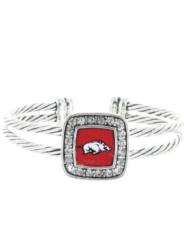 Officially Licensed University of Arkansas Razorbacks Silvertone Cable Cuff Bracelet at Amazon.com