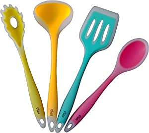 Premium Silicone Cooking Utensil Set. Bring a Splash of Color to Your Kitchen with These Fun and Cute Kitchen Utensils. Top Quality Silicone and a Super-strong Nylon Core Make Them the Longest-lasting and Best Cooking Utensils You Will Ever Own.