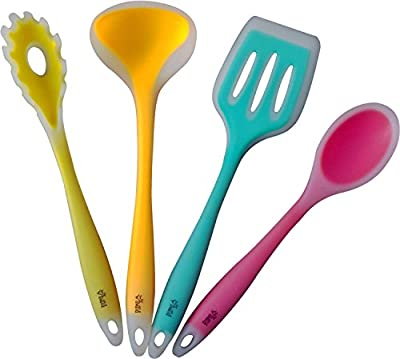 Premium Silicone Kitchen Utensil Set, New 4 Piece Cute Cooking Tool Set By YumYum Utensils