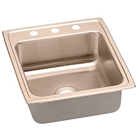 Elkao|#Elkay LR20223-CU 18 Gauge Cuverro Antimicrobial copper 19.5 Inch x 22 Inch x 7.625 Inch single Bowl Top Mount Sink 3 Hole,