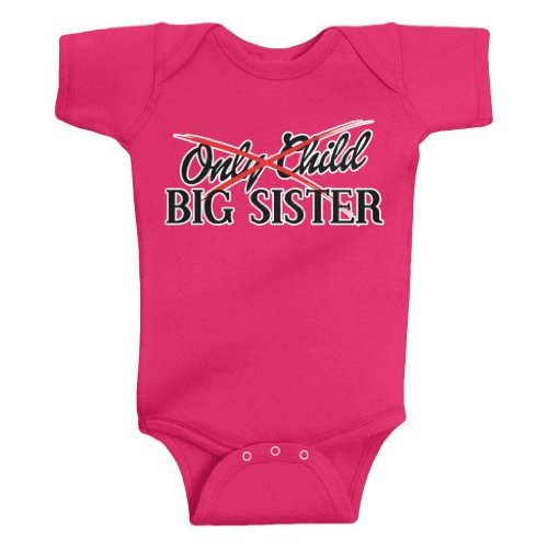 Threadrock Baby Girls' From Only Child To Big Sister Bodysuit 18M Hot Pink