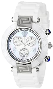 Versace Women's 92CCS1D497 S001 Reve Ceramic Bezel Chronograph White Rubber Watch
