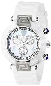 Versace Women's 92CCS1D497 S001 Reve Ceramic Bezel Chronograph White Rubber Watch