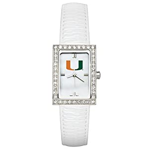 CZNSW22433Q-w-White Leather University of Miami Watch with Cz Frame by NCAA Officially Licensed