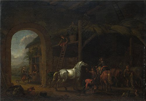 Oil Painting 'Abraham Van Calraet The Interior Of A Stable' 30 x 43 inch / 76 x 110 cm , on High Definition HD canvas prints is for Gifts And Bath Room, Home Theater And Kitchen Decoration (Ohio Table Pad Company compare prices)