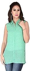 Soie Women's Empire Shirt (6136(I)GREEN_XXX-Large)