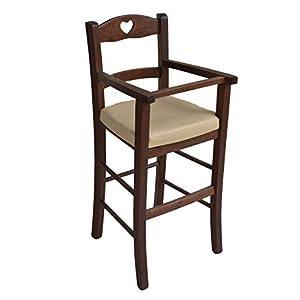 Sediolone Sgabello Sedia Seggiolone bimbo lusso in legno Noce scuro con seduta ecopelle beige imbottita   recensione