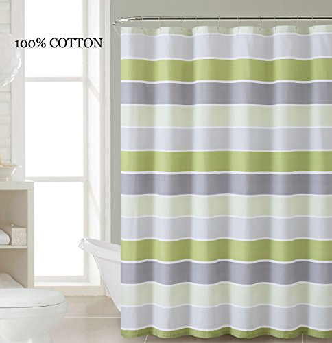 100% Cotton Fabric Shower Curtain: Stripe Design (Light and Dark Green White Silver and Gray) (Grey And Green Shower Curtain compare prices)