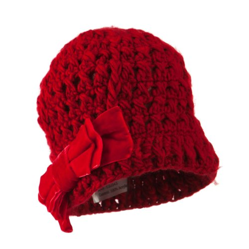 Girl'S Acrylic Beanie With Crushed Large Velvet Bow - Red Osfm front-48001