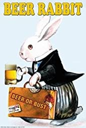 30 x 20 Stretched Canvas Poster Beer Rabbit