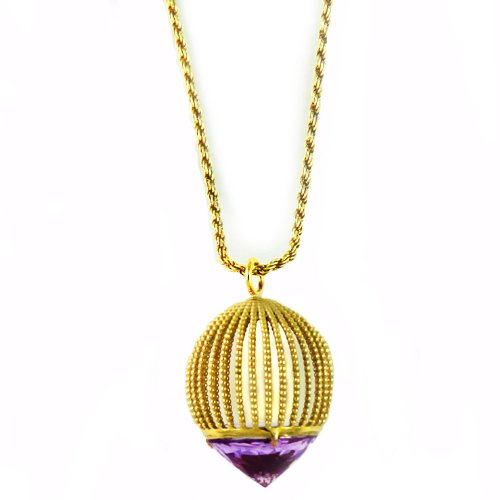 Assya Gold Vermeil Long Cage Pendant Necklace with Amethyst of Length 90cm
