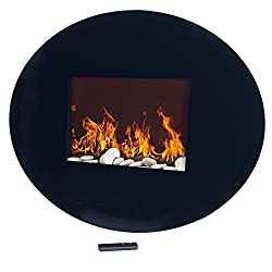 Northwest 80-EF456S Black Oval Glass Electric Fireplace with Wall Mount by Trademark Global, Inc. (HI)