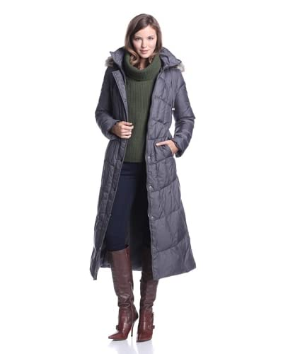 London Fog Women's Long Down Coat  - Dark Grey