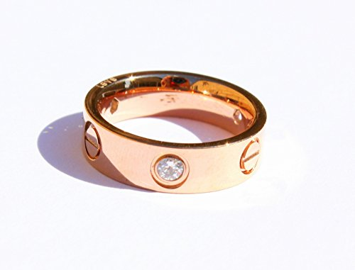 Unisex Love Screw Cz Diamond Designer Brand Ring Rose Gold Size 7 By Mika Couture