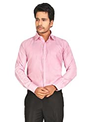 John Morris Smart Pink Small Checks Regular Fit Formal Full Sleeves Shirt For Men | JM1136512Q2