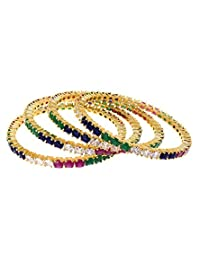 Aabhushan Jewels Ruby, Sapphire & Emerald Look Gold Plated American Diamond Bangles For Women