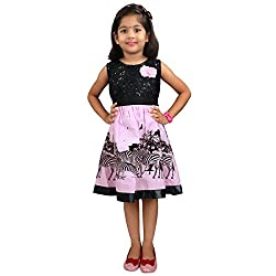 Hawai Black & Light Pink Printed Cotton Frock