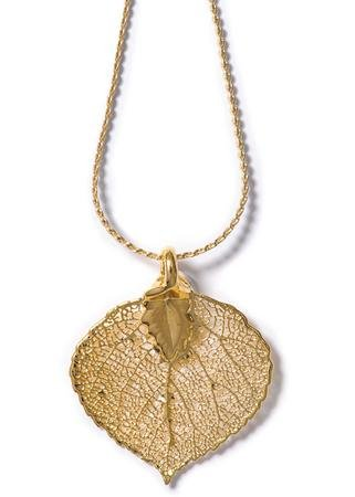 Real Aspen Lace Leaf Necklace Dipped in 24 K Gold