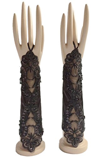 ESY Women's Fingerless Elbow Length Satin Applique Beads Wedding Gloves Black