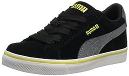 PUMA S Vulc Jr Sneaker (Little Kid/Big Kid),Black Steel/Gray/Green Sheen,1 M US Little Kid