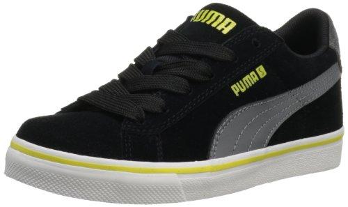 86035c8d2e01f PUMA S Vulc Jr Sneaker Little Kid Big Kid Black Steel Gray Green Sheen 6 M