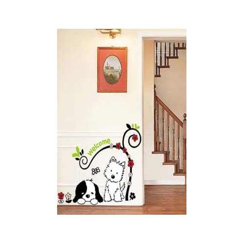 X Large Two Dogs Puppies Under a Tree Wall Sticker Decal for Baby Nursery Kids Room Sticker 14X28