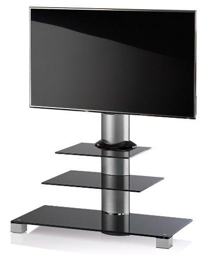 meubles tv vcm 17015 amalo meuble tv avec 2 tag res roulettes incluses aluminium verre noir argent. Black Bedroom Furniture Sets. Home Design Ideas