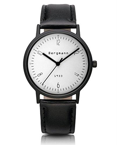 Bergmann Brand Vintage Men'S Watch White Dial Black Leather Casual Wrist Watch Quartz 1933
