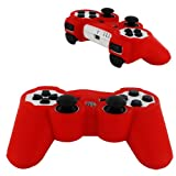 Skque Silicone Soft Case Cover for Sony PlayStation 3 Controller, Red