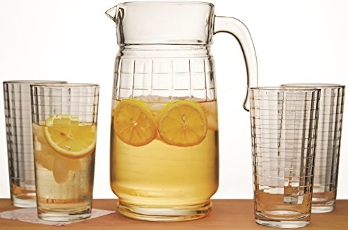 Black Friday Sale 2015!! Circleware Windowpane Glass Beverage Drink Set, 4-14 Ounce Highball Glass Drinking Glasses and 64 Ounce Glass Juice Drink Pitcher, Limted Edition Glassware Serveware Drinkware