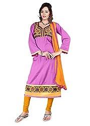 Kimisha Purple Semi Cotton Embroidered Anarkali Dress Material