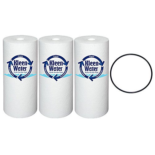 Three GE GXWH30C, GXWH35F and GXWH40L Compatible Water Filter Cartridges - One O-Ring Replacement for WSO3X10039 - Filters are 4.5 x 10 Inch Poly-Spun - 5 Micron by KleenWater