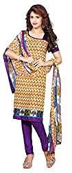 White Color Silk Churidar Salwar Suit Unstitched Dress Materials