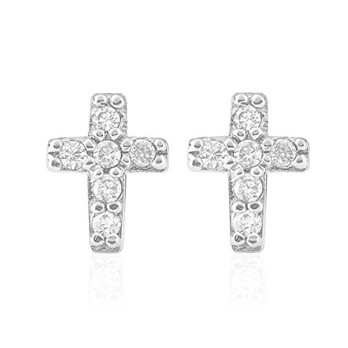 925 Elegant Sterling Silver Simualted Diamond Cubic Zirconia (CZ) Mini Cross Stud Earrings in Rhodium or Gold Plated
