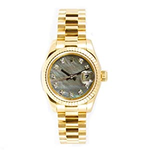 Rolex Ladys President New Style Heavy Band 18k Yellow Gold Model 179178 Fluted Bezel Dark Mother Of Pearl Diamond Dial