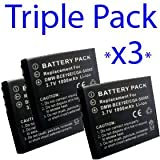 Premium Range -Triple Pack- 3x Replacement rechargeable battery CGA-S008, CGA-S008E, DMW-BCE10, (DMWBCE10), VW-VBJ10 (VWVBJ10) for Panasonic Lumix SDR-S7, SDR-S9, SDR-S10, SDR-SW20, SDR-S26, SDR-SW28, DMC-FS20, DMC-FS3, DMC-FS5, DMC-FX30, DMC-FX33, DMC-F