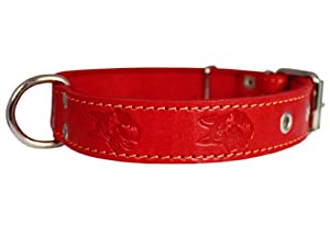"Genuine Leather Dog Collar 1.25""x22"" Fits 15""-20"" Neck, Red, German Shepherd"