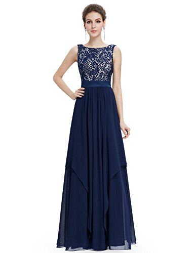 Ever Pretty Womens Formal Lace Chiffon Long Bridesmaids Dress 10 US Navy Blue