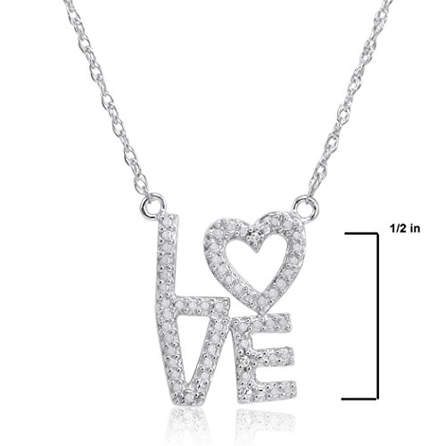 Sterling Silver and Diamond Heart in Love Necklace 18 inch