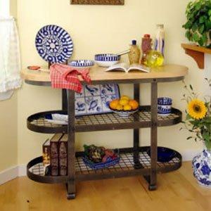 Cheap Enclume GI1 Gourmet Island Kitchen Furniture, Hammered Steel and Wood (GI1-HS)