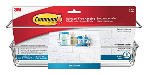 Command BATH31-SN-ES Shower Caddy, Satin Nickel, 1-Caddy, 1-Prep Wipe, 4- Large Water-Resistant Strips (Command Soap Dish compare prices)