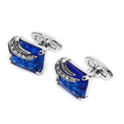 Imported Men's Rectangle Blue Crystal Cufflinks Shirt Cuff Links Wedding Party Groom Gift
