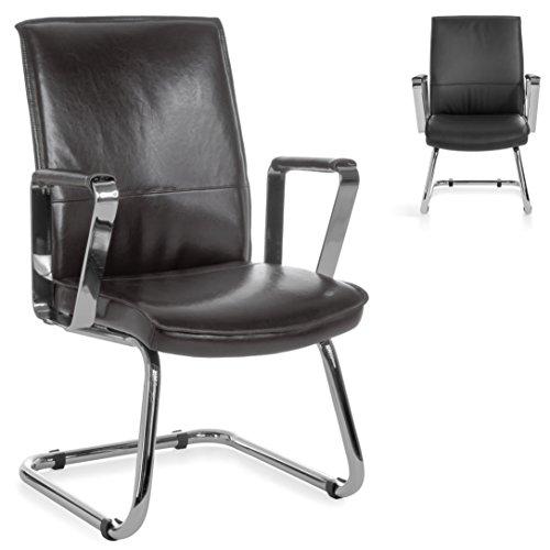 FineBuy-Freischwinger-VEVO-Besucherstuhl-Bezug-Echt-Leder-Braun-Schwingstuhl-Visitor-X-XL-Chrom-120-kg-Meetingstuhl-ergonomisch-Design-ergo-Kippschutz-Konferenzstuhl-Wartestuhl-feststehend