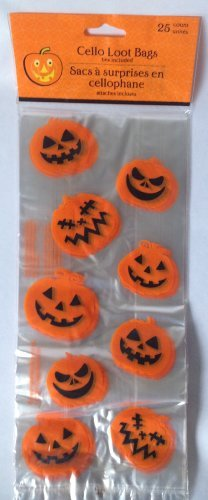 Halloween Pumpkin Cello Loot Bags - Pack of 25 - 1