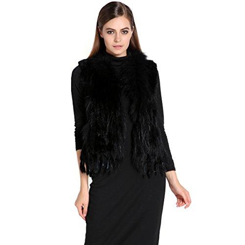 Zeagoo Women'S Knitted Rabbit Fur Vest Gilet With Raccoon Collar Jacket